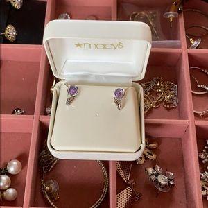 Macy's Amethyst and Diamond Earrings